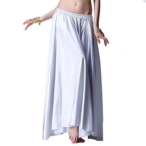 [Belly Dance Skirt Flamenco Satin Full Circle Long Skirt Dancing Dress Belly Dance Costume] (White Leotard Halloween Costume)