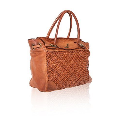Cuir Italy Sac Vintage in 39x33x15 bronzer en véritable Chicca à Femme main Made Cm Borse Line entrelacé R8n57wqpO