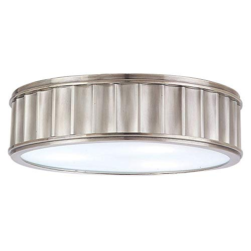 Middlebury 3-Light Flush Mount - Historic Nickel Finish with Clear/Frosted Glass Shade ()