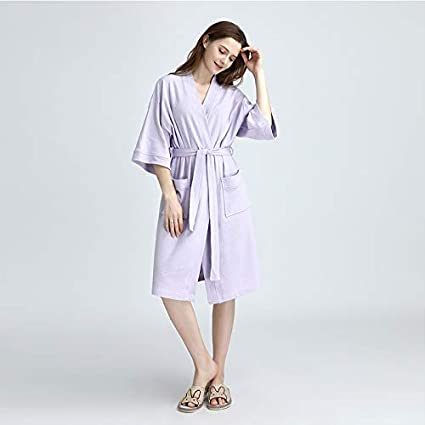 LanTa Home Pijamas nuevos de Verano Camisas Finas de Punto de algodón Batas de baño de