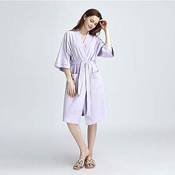LanTa Home Pijamas nuevos de Verano Camisas Finas de Punto de algodón Batas de baño de Confort Casual (Color : Purple, Size : M): Amazon.es: Hogar