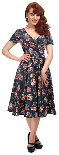 Damen Rosen Bloom Dress mit Rosen Kleid Collectif Dunkelblau Swing Maria q7xzWwd