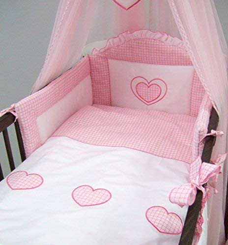 QUILT COVERS for cot 3pc bedding set BUMPER padded filled cot bed PINK HEARTS