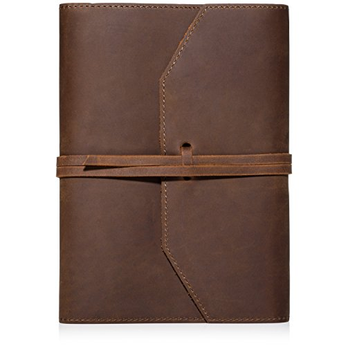 - LEATHER JOURNAL REFILLABLE Writing Notebook - Lay Flat Lined Notebook, Handmade Leather Bound Diary for Men & Women, Best Gift for Travel Diary, Creative Writing & Notebooks to write in, Large 6x8