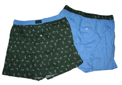 Tommy Hilfiger Men's Woven Boxer Shorts - 2 Pack-Gift Boxed (Small 28-30, Green/Blue-Airplane)