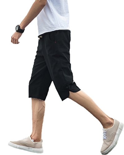 Gobuye サルエルパンツ メンズ ズボン 袴パンツ ワイドパンツ サルエル ファッション 麻 七分丈 短パン ショートパンツ カジュアル 夏 無地 調整紐 ゆったり 通気性 6077