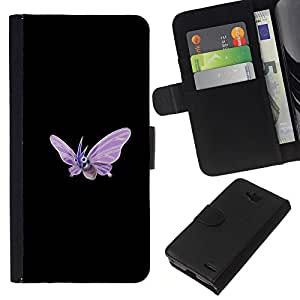 Protector de cuero de la PU de la cubierta del estilo de la carpeta del tirón BY RAYDREAMMM - LG OPTIMUS L90 - Meter Monstruo púrpura de la mariposa