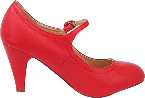 Select Heel Mid Round Women's Toe Red Cambridge Pump Mary Jane Dress AnBxA