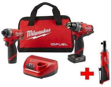 Milwaukee Ratchet Power Tool 12V Cordless 1//4 3//8 Inch Battery Charger Combo Set