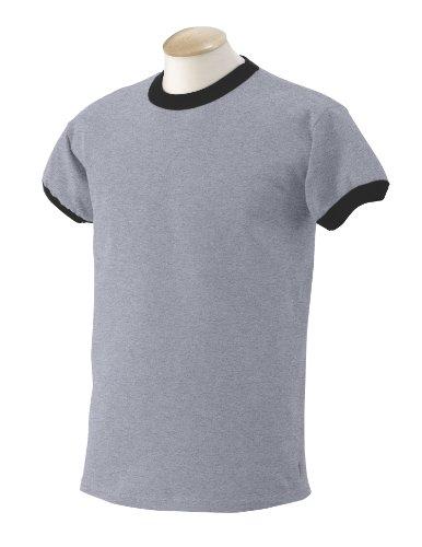Gildan 6.1 oz. Ultra Cotton Ringer T-Shirt, Sports Grey/Black, Small