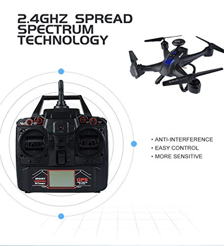 MOZATE X191 Quadcopter 2.4GHz 720P HD Camera WiFi FPV GPS Fixed Point Drone (Black) by MOZATE (Image #2)