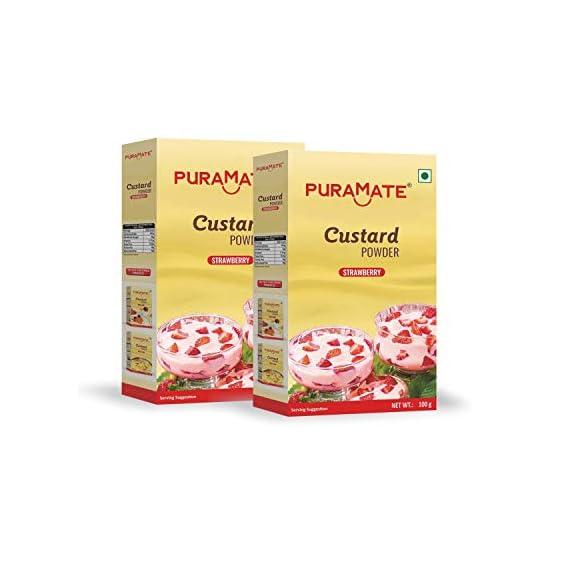 Puramate Custard Powder Strawberry, 100 gm (Pack of 2)
