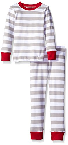 L'bKIDS by L'ovedbaby Little Boys' Toddler Organic Holiday Pj Set, Light Gray/White Stripe, 4T