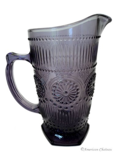 34oz/1000ml Vintage Amethyst Depression Pressed Glass Water Iced Tea Pitcher Jug ()