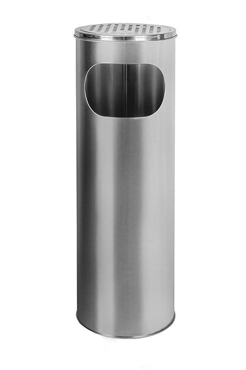 Standaschenbecher mit M/ülleimer Edelstahl 58cm 18L Silber