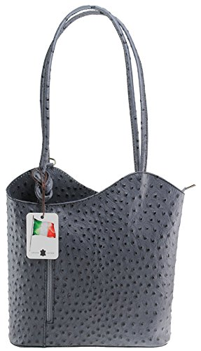 CTM Tasche Damen Leder Schulter Strauß, 28x30x9cm, 100% echtes Leder Made in Italy Grau