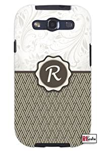 Monogram Initial Letter R Unique Quality Hard Snap On Case for Samsung Galaxy S4 I9500 - White Case
