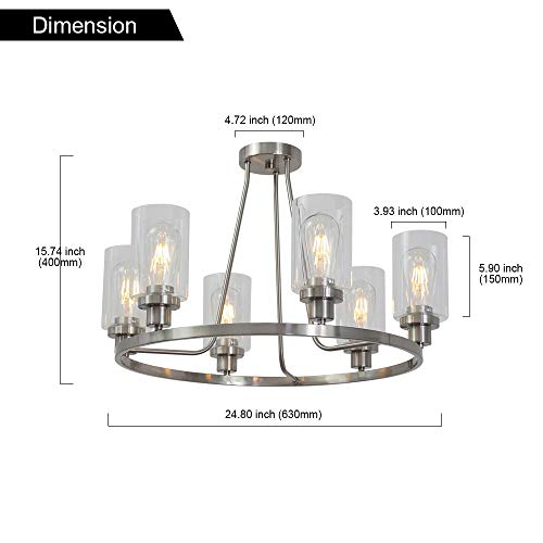 MELUCEE 6-Light Brushed Nickel Round Chandelier with Clear Glass Shade, Semi Flush Mount Ceiling Light Island Lighting for Dining Room Living Room Bedroom UL Listed by MELUCEE (Image #5)