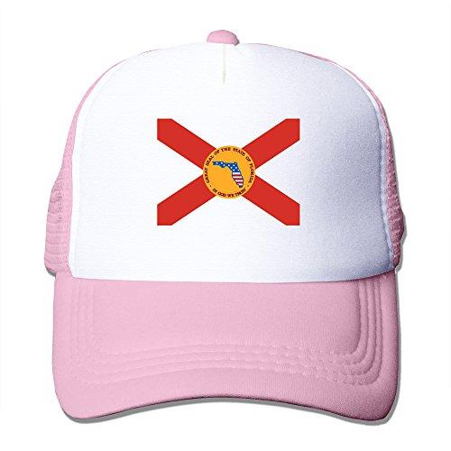 Mens USA State Of Florida Flag Mesh Back Baseball Hat Trucker Hats Pink ()