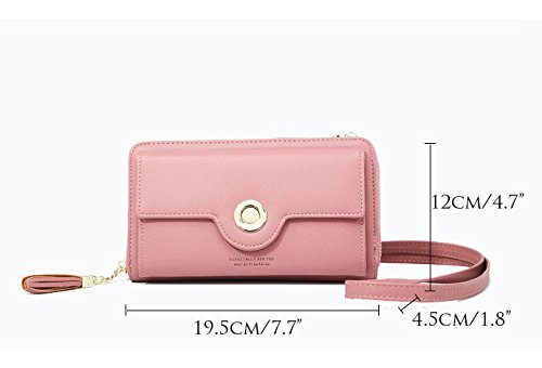 Women For Strap Girl 98436 Handbags Clutch Pocket Phone Zipper Tassel Bags warmpink Case Front Holder Cross Leather Body Card With Shoulder Ladies Bags Wallet Eqwt44
