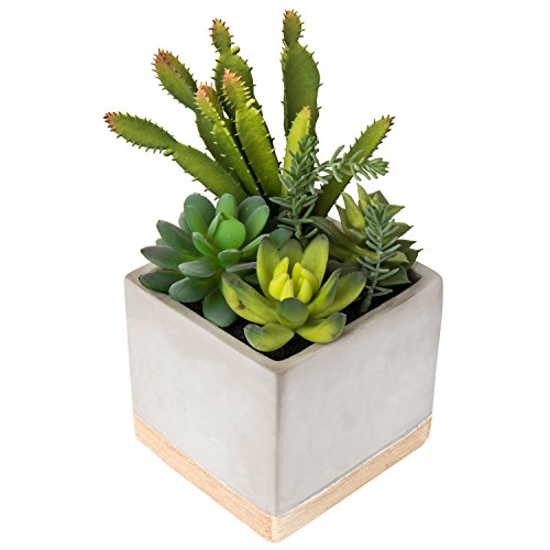 MyGift 9-Inch Artificial Succulent Plant Arrangement in Square Gray Clay Planter by MyGift
