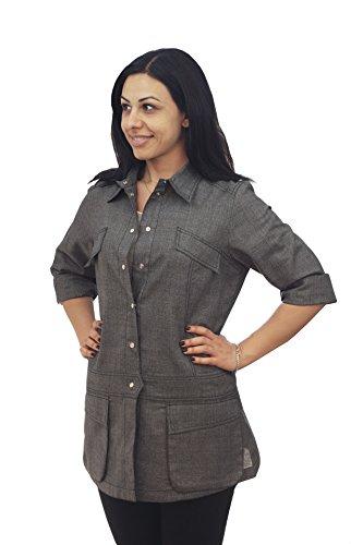 ASD Living Stylized Heather Grey Denim Long Sleeve Chef Coat,X-Large by ASD Living