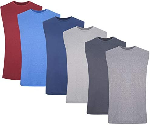 6 Pack: Men's Active Dry Fit Moisture Wicking Muscle Sleeveless Athletic Performance Heather Muscle Sleeve Top
