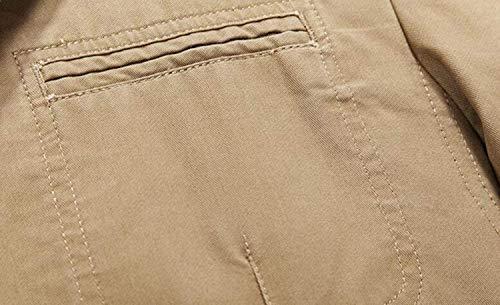 2 Tasche In 3 Vintage Lavoro Capispalla Giacca Uomo Cappotto Khaki Strati Cotone Casual Da Uomo Leggera qBYYzwU