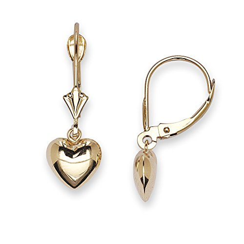 14k Earrings Leverback Dangle (14k Yellow Gold Heart Drop Leverback Earrings - Measures 23x8mm - JewelryWeb)