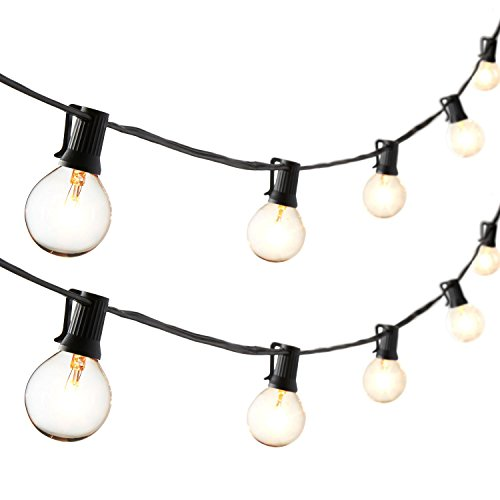 G16.5 Classic Black 54 Foot String Light with 50 Clear Globe Bulbs, Connectable, UL Listed, Indoor and Outdoor Use, Bulbs Included, Fuse Replacements - Classic G