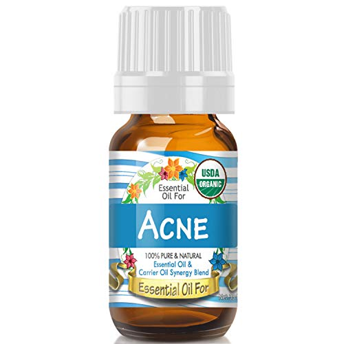 Essential Oil for Acne (USDA Organic - 100% Pure) Unique Blend of Essential Oils Recomended by Aromatherapists for Aromatherapy - 10ml