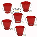 ITALIA 6-Pack Metal Bucket color Red Size 7.5 x 7.5
