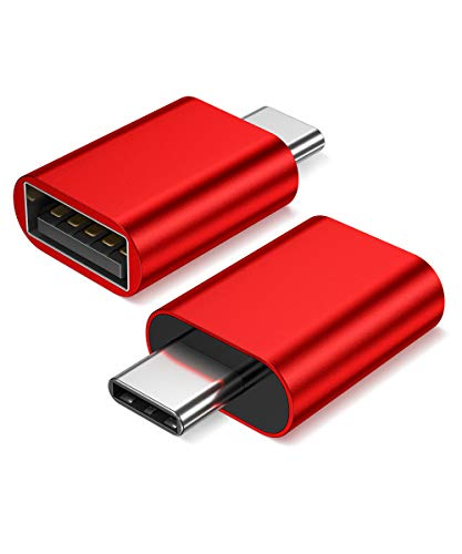 JSAUX USB-C to USB A 3.0 Adapter 2-Pack, [Side-by-Side Use] Aluminum Thunderbolt 3 Type C Adapter Compatible with MacBook Pro 2018/2017, MacBook Air 2018,Dell XPS, Galaxy S10 S9 S8 Note 9,Pixel(Red)