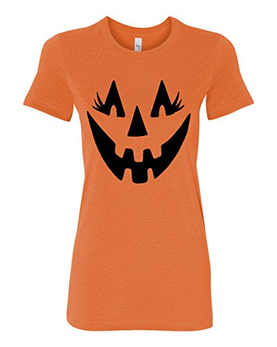 Wild Bobby Jack O Lantern With Eyelashes | Womens Halloween Junior Fit Women's Tee Graphic T-Shirt, Orange, (New Girls Bobby Jack)