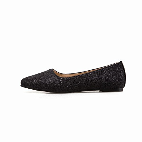 Carolbar Women's Bling Bling Fashion Pointed Toe Flat Loafer Court Shoes Black EYaDL