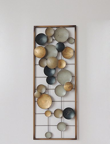 Cheap  New All American Collection Aluminum/Metal Wall Decor with Frame (Circles Earth Colors)
