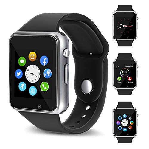 - Smart Watch - 321OU Touch Screen Bluetooth Smart Wrist Watch Smartwatch Phone Fitness Tracker SIM SD Card Slot Camera Pedometer Compatible iPhone iOS Samsung LG Android Women Men Kid (Silver)