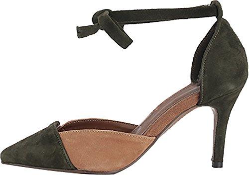 Calaier Women Salbd Pointed-Toe 7CM Stiletto Lace-up Sandals Shoes Green qHjZatq
