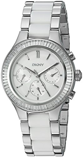 DKNY Women's 'Chambers' Quartz Stainless Steel and Ceramic Casual Watch, Color:Silver-Toned (Model: (Dkny Ladies White Ceramic)