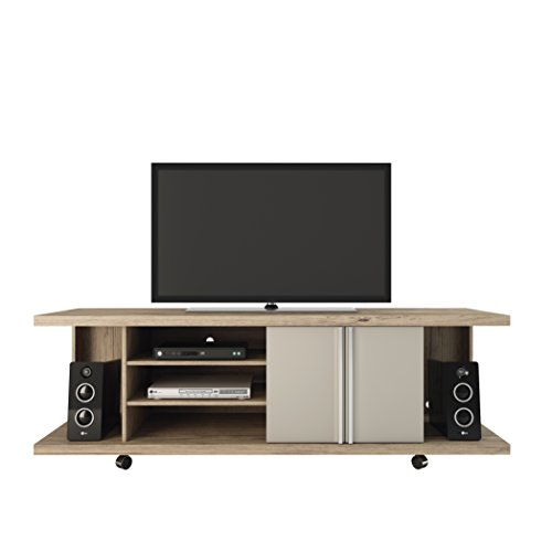 "Manhattan Comfort 14555 Carnegie Collection Flat Screen TV Stand with Storage Compartments 71"" L x 17.1"" D x 23.6"" H Nature And Nude"