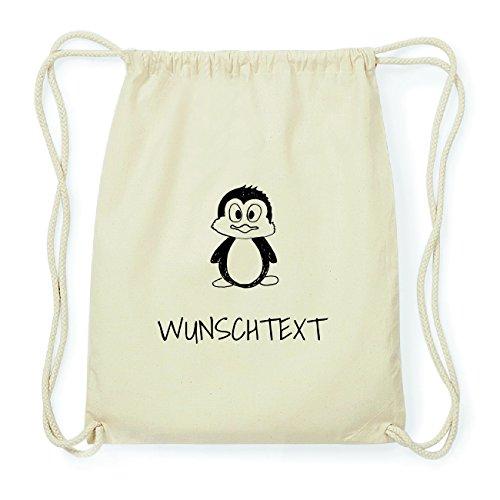 JOllipets WUNSCHTEXT Hipster Turnbeutel Tasche Rucksack aus Baumwolle Design: Pinguin cOowAoUc