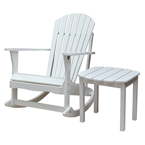 International Concepts Adirondack Rocker with Side Table, White, Set of 2