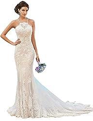 Fenghuavip Elegant Halter Ivory Lace Long Train Bridal Beach Wedding Dress