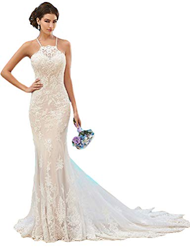 Fenghuavip Elegant Halter White Lace Long Train Bridal Beach Wedding Dress