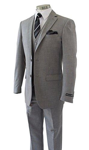 Alberto Cardinali Men's Sharkskin 3-Piece 2 Button Slim-Fit Suit w/ Matching Vest [Color: Light Gray | Size: 50 Regular / 44 Waist] by Alberto Cardinali (Image #2)