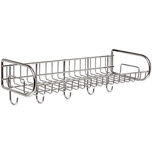 MyGift Stainless Steel Wall-Mounted Storage Shelf/Utility Rack/Hook Hanger