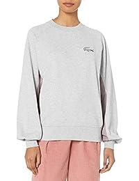 Womens Oversized Cotton Poly Fleece Sweatshirt W/ Tattersall Trim