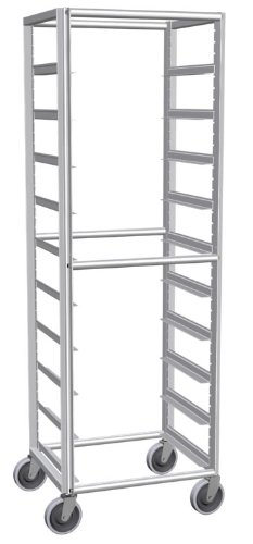 Lockwood RK69-10 Aluminum Full Height Mobile Glass Rack with Caster, 10 Tray Capacity, 23'' Width x 69'' Height x 20'' Depth by Lockwood