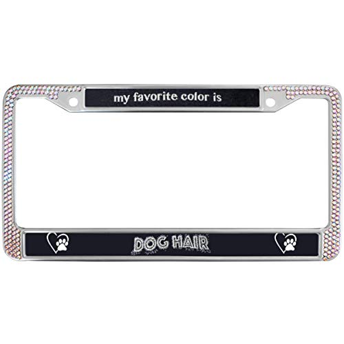 (GND Rhinestone License Plate Frame,My Favorite Color is Dog Hair License Plate Frame for Women Diamonds Dog Paw Crystal Metal Chrome License Plate Frame for US Vehicles)