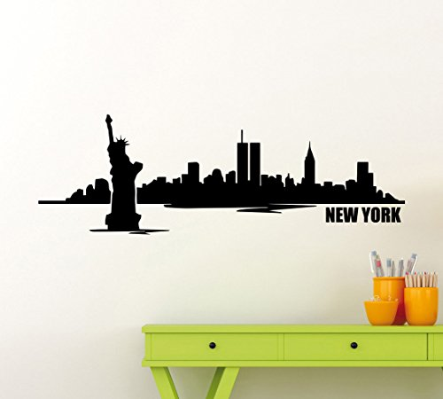 New York Skyline Wall Decal USA Wall Decor State Vinyl Sticker Home Nursery Room Interior Art Decoration Any Kids Girl Boy Room Mural Waterproof High Quality Vinyl Sticker - Store New In York Biggest